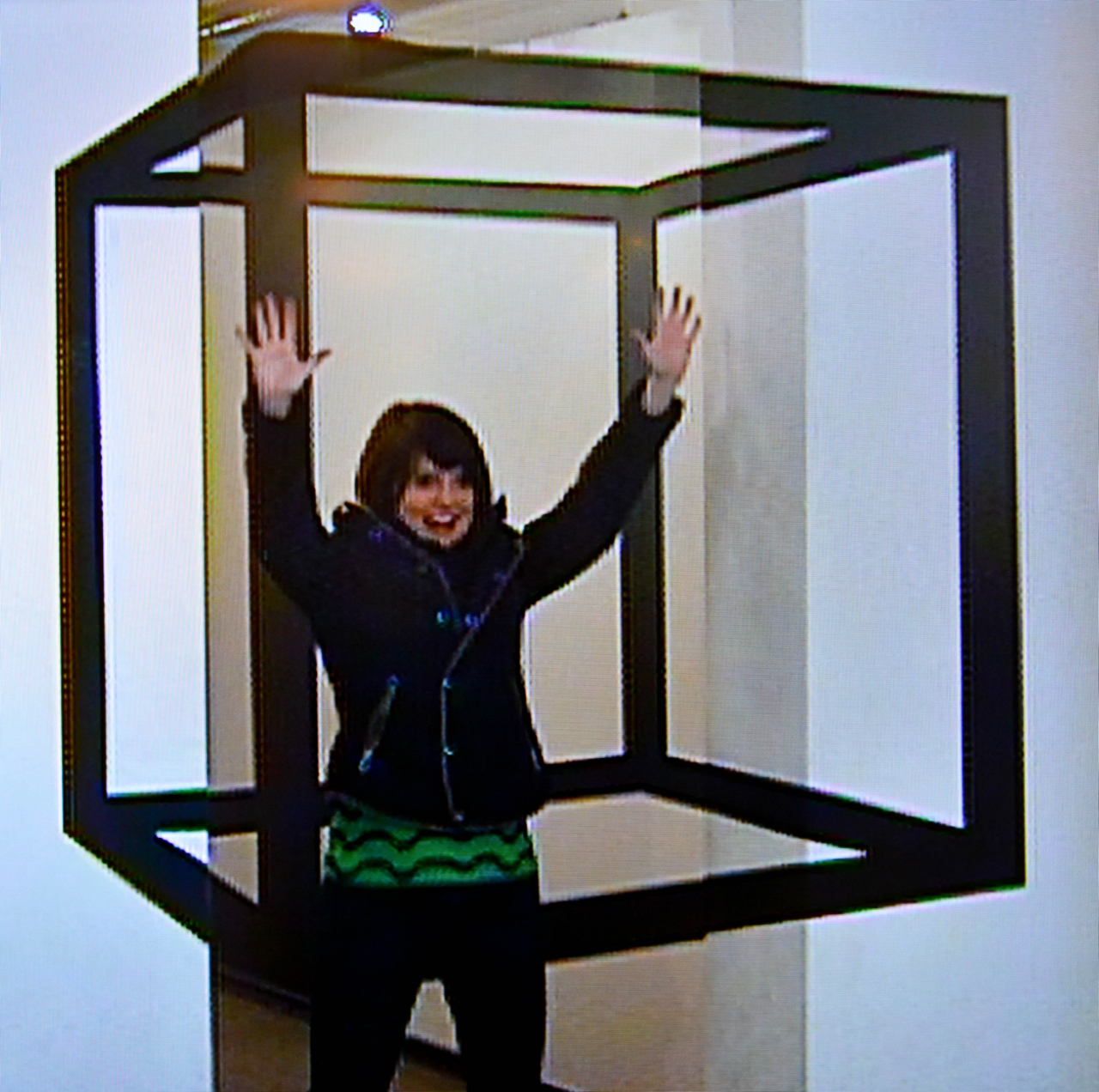 An optical illusion in the interactive part of the museum (sorry about the quality; it was taken from a tv screen!)