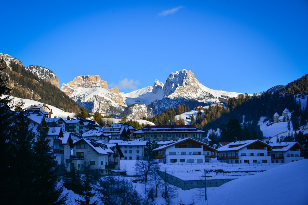 View of the Dolomites from the valley of Santa Cristina