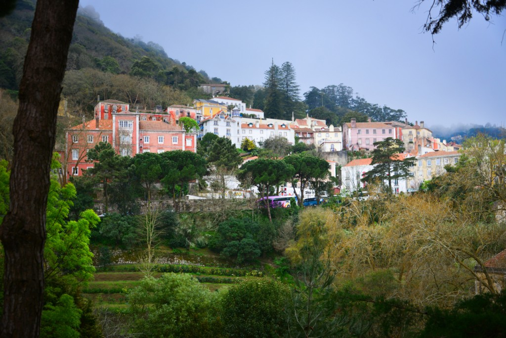 View of the town of Sintra at the base of the mountain
