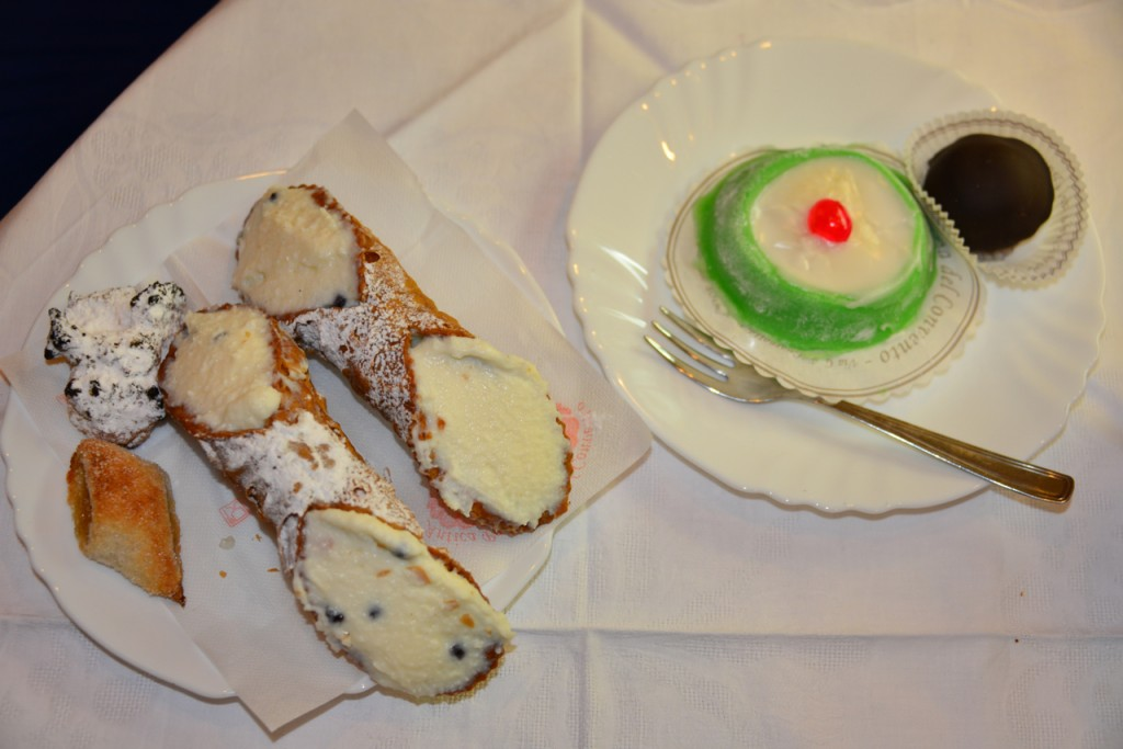 """Our smattering of pastries - including cannoli and """"la cassata"""" (the green one)"""