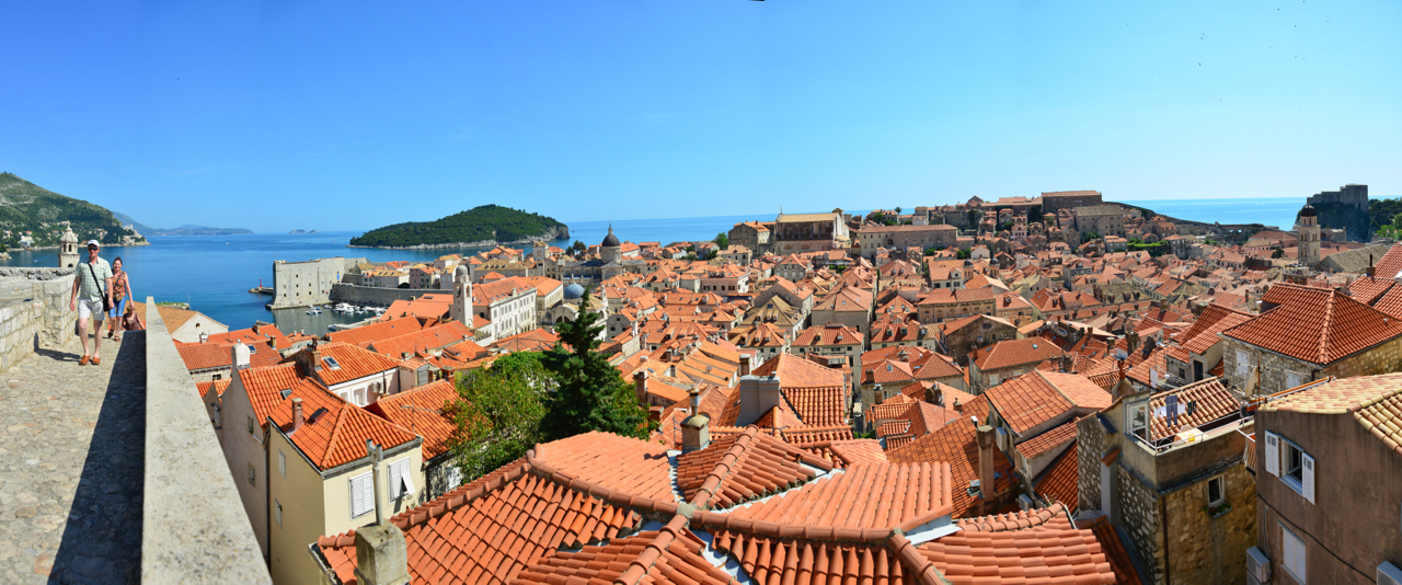 View of Dubrovnik's old city and the Adriatic from the city walls