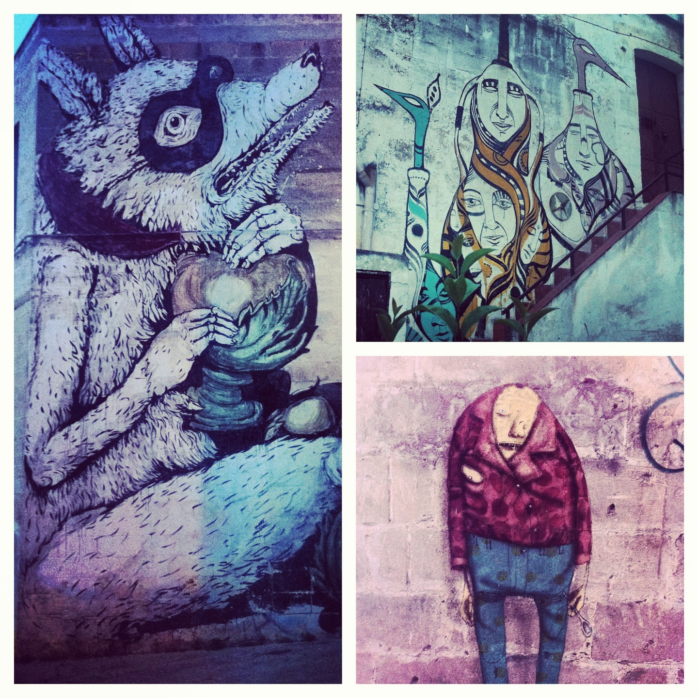 Bottom right photo done by Os Os Gemeos