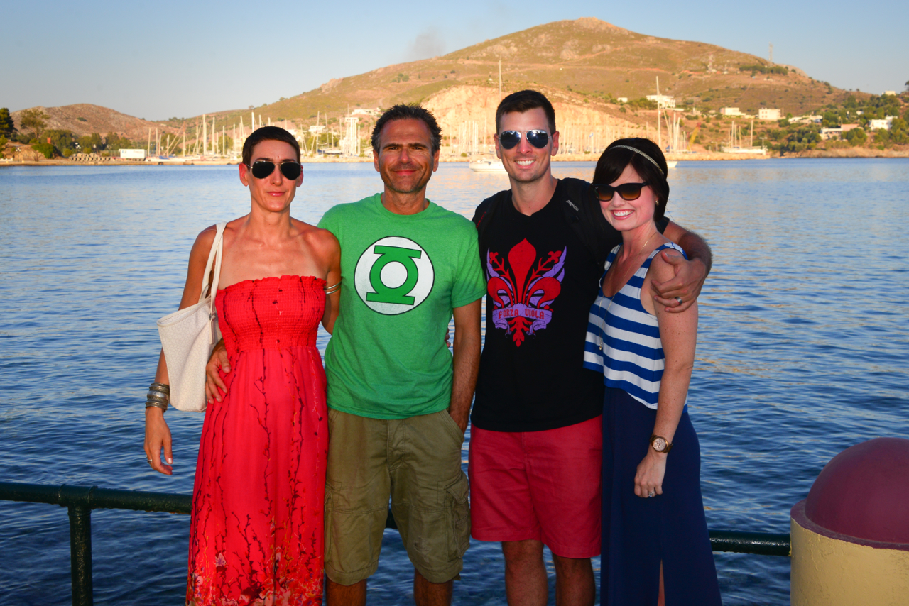 The only group shot we got of the 4 of us - before dinner in Lakki
