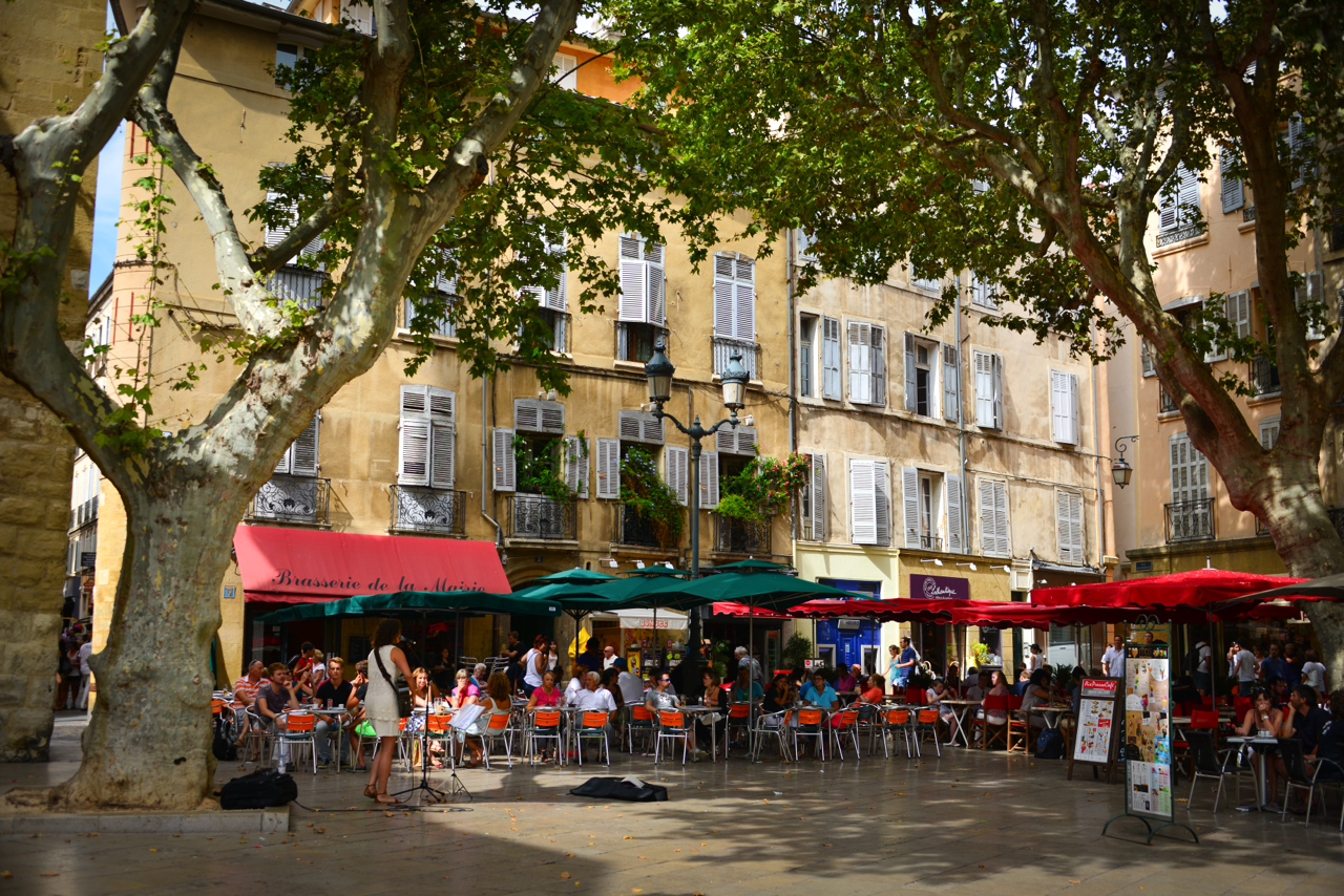 Cute square with cafes and live music