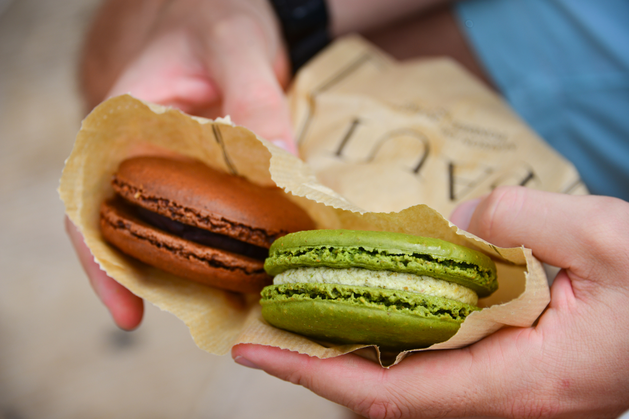 Our mega macaroons - pistachio and chocolate ganache