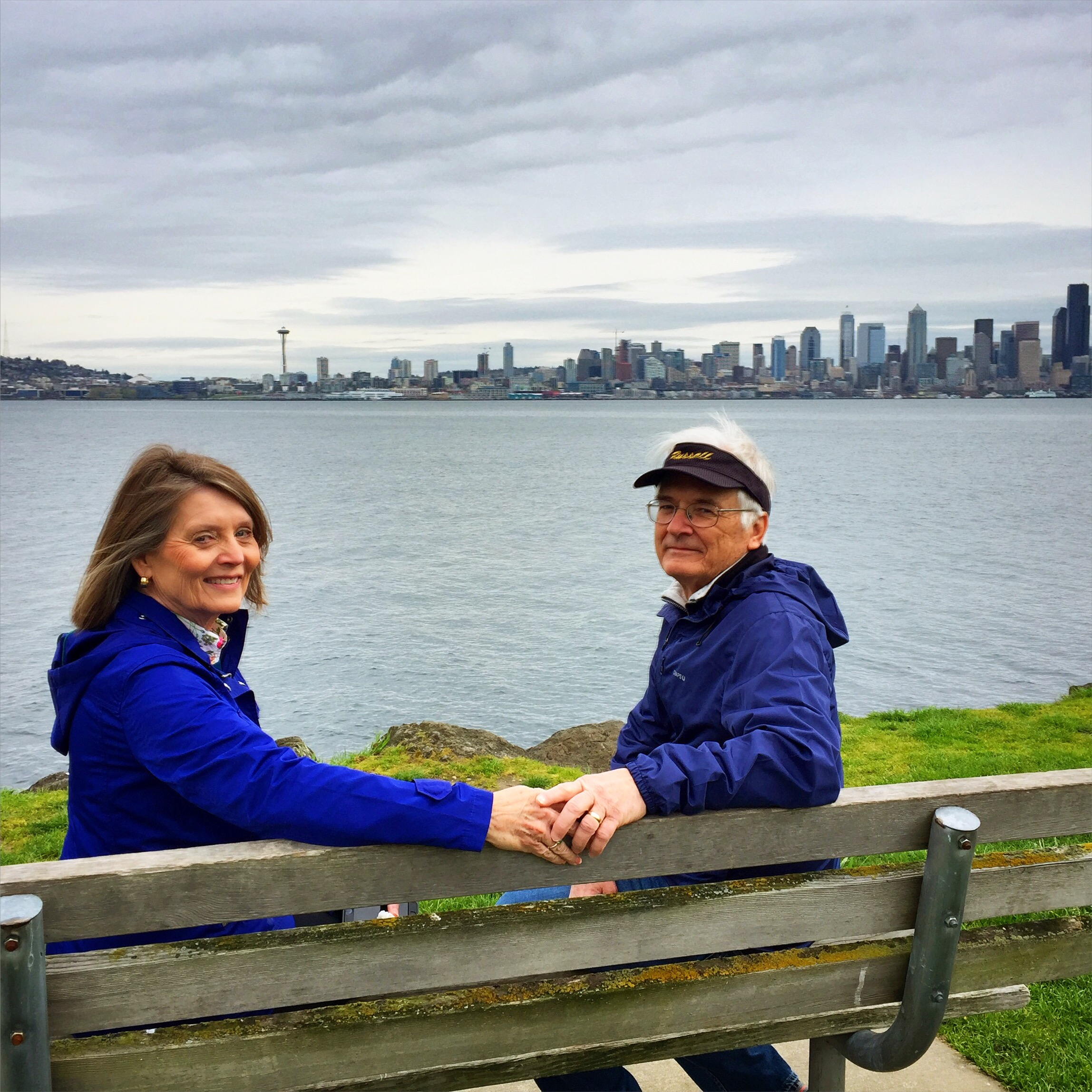 Mom and Dad visiting Alki Beach