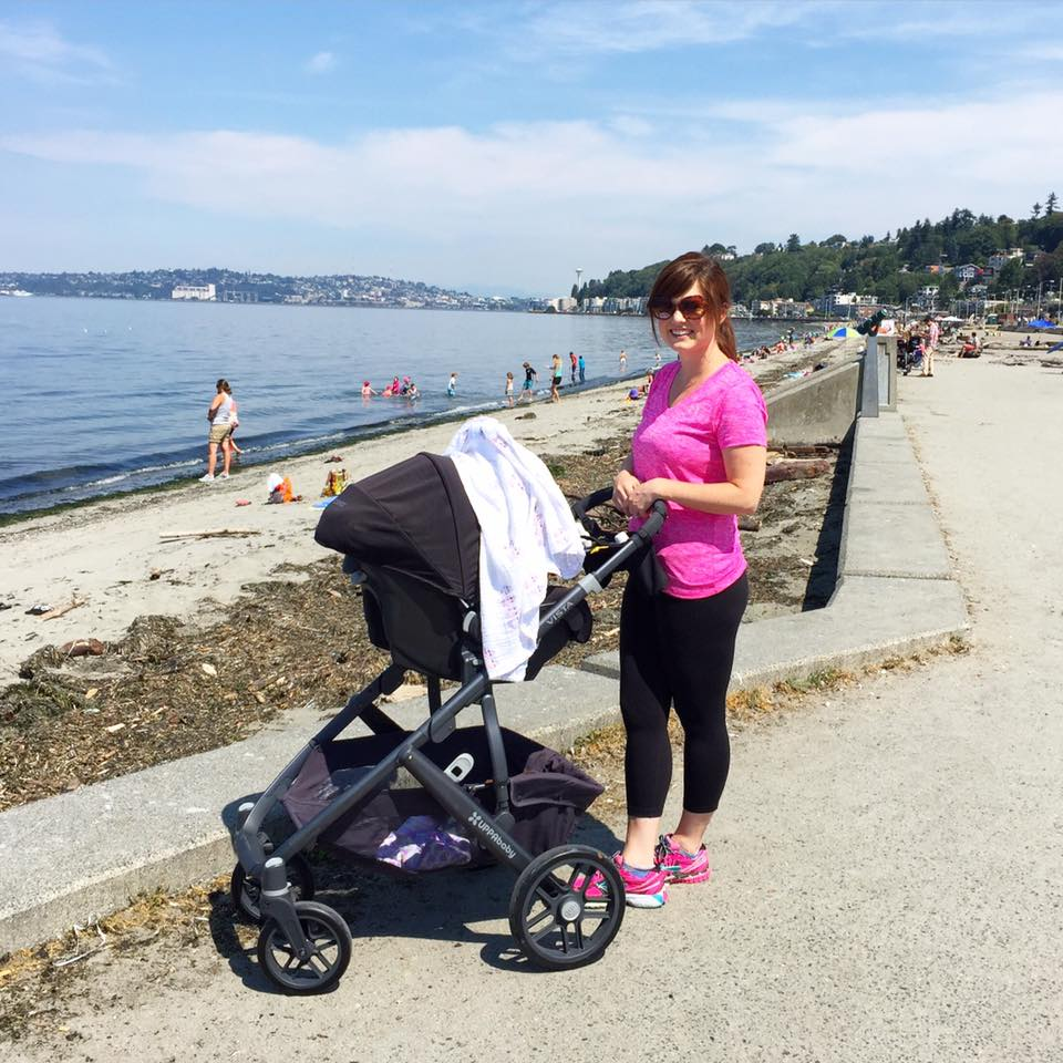 Stella's first trip to Alki Beach in West Seattle - 7 weeks old