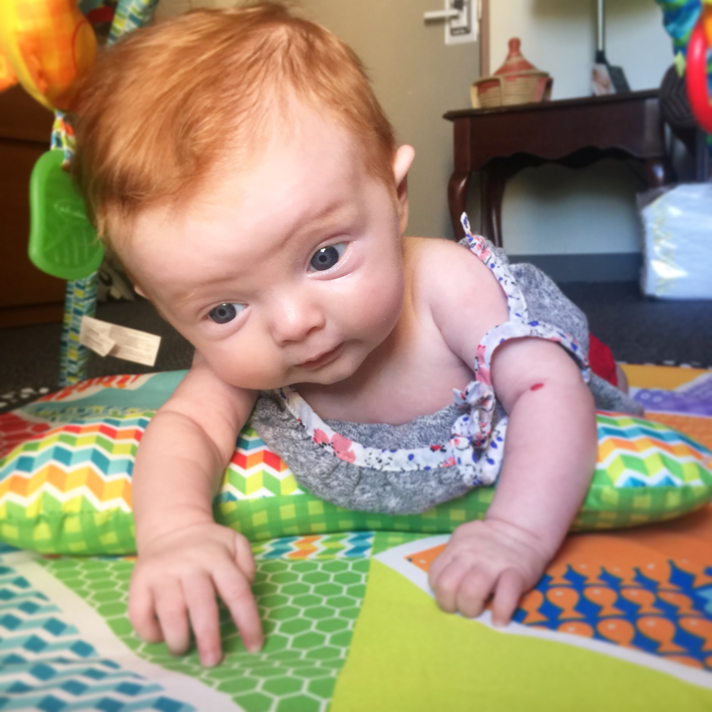 Tummy time on the play mat