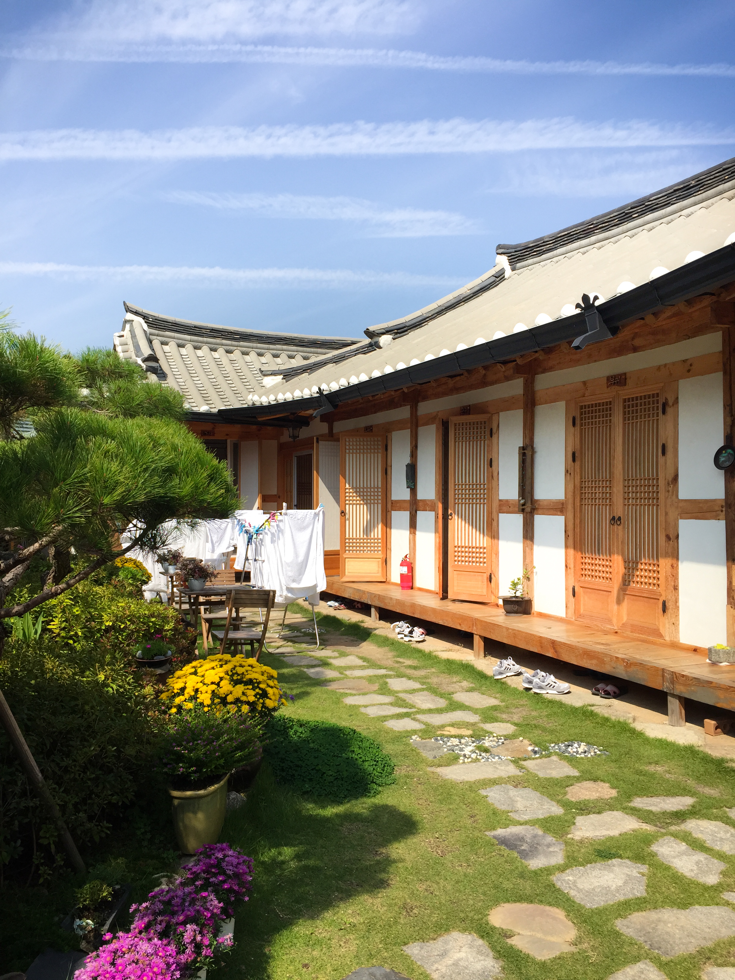 A traditional hotel in Hanok Village (see the shoes left outside?!)