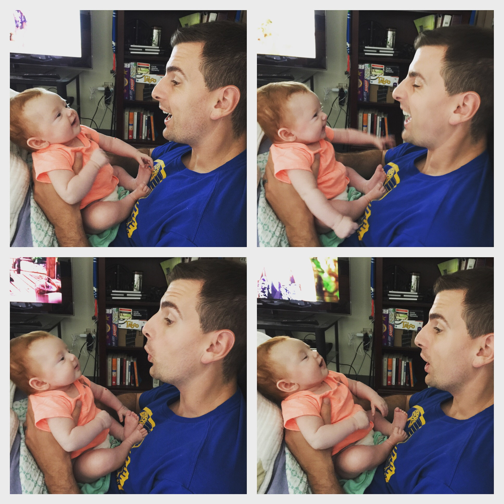 Copying dad's silly faces
