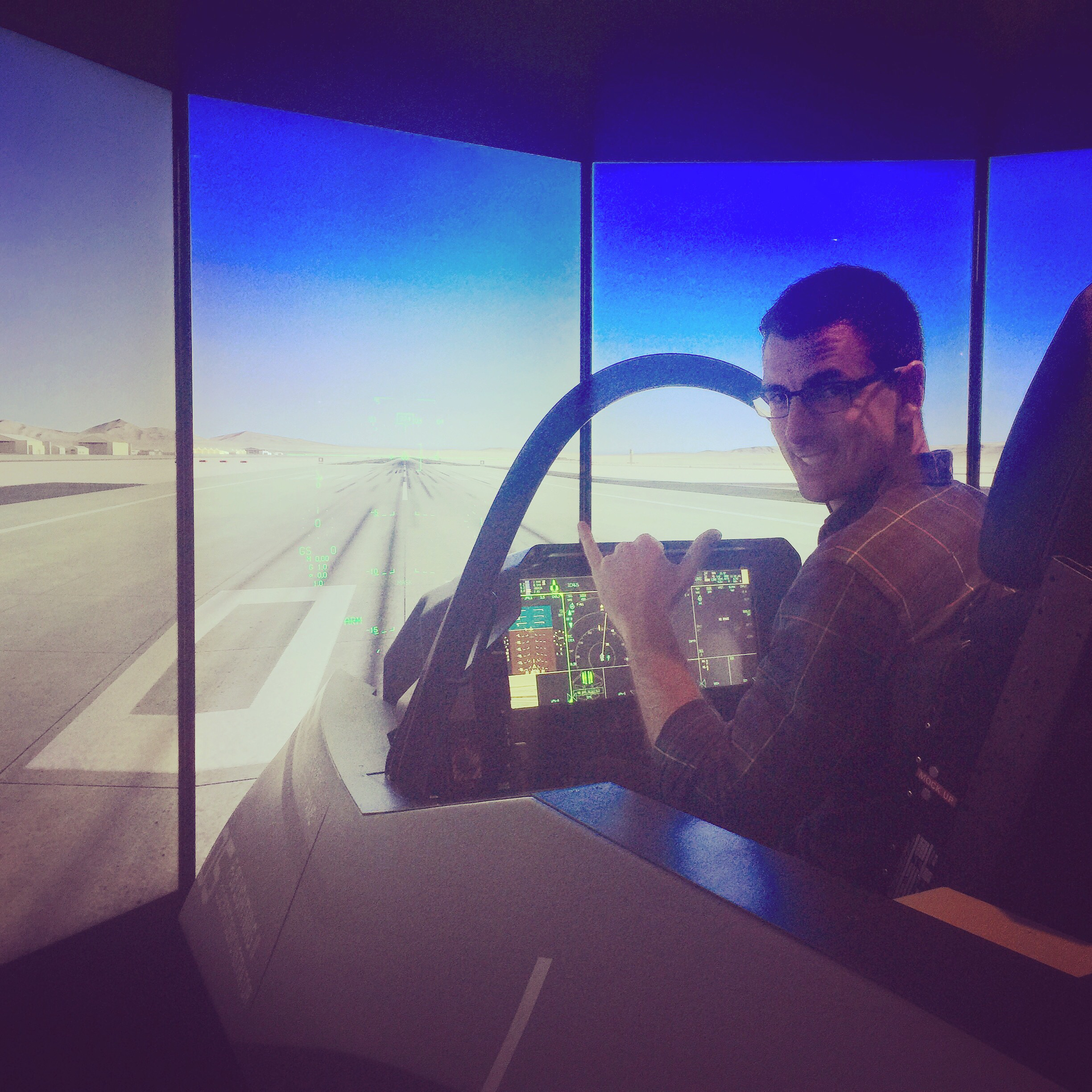 He weasled his way into an F-35 simulator. Lockheed Martin was on hand to show it off to other countries in hopes of selling more aircraft