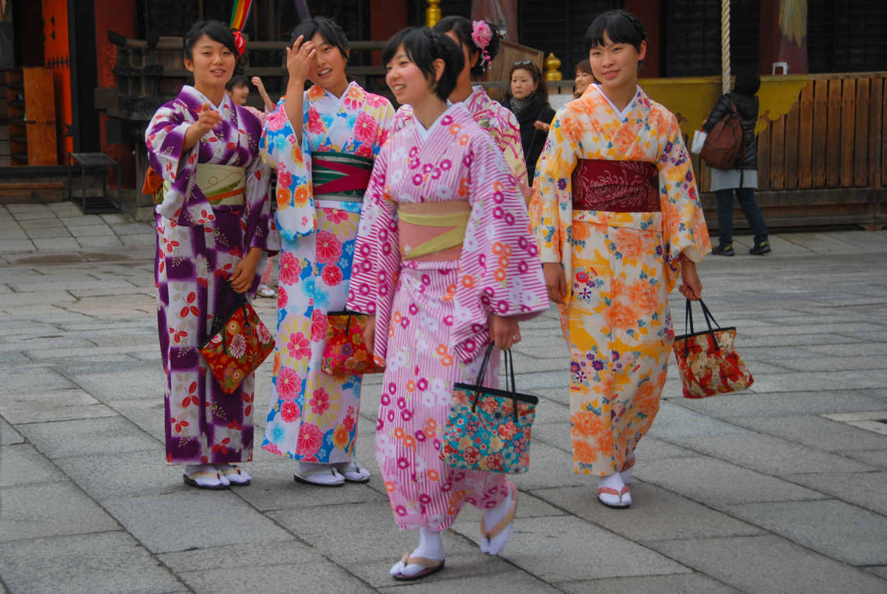 Young girls in traditional dress