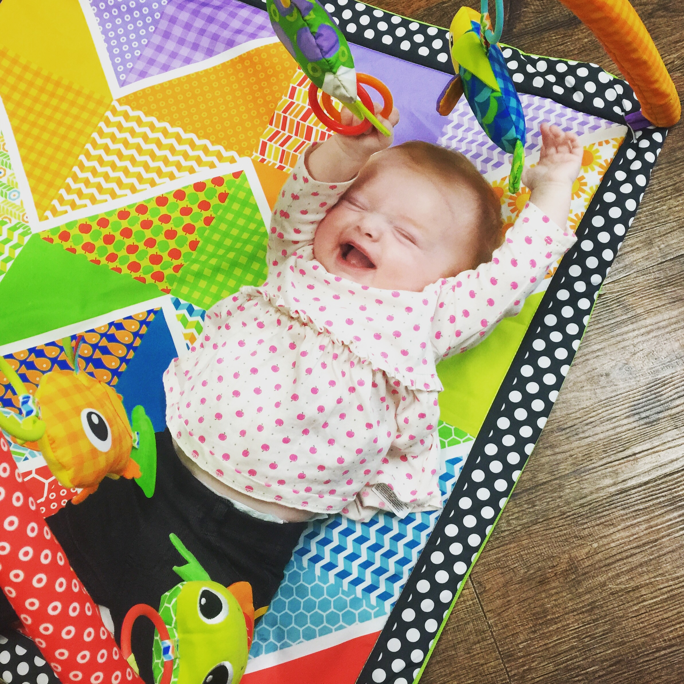 She loves playing on her mat and it now holds her attention for up to 45 minutes!